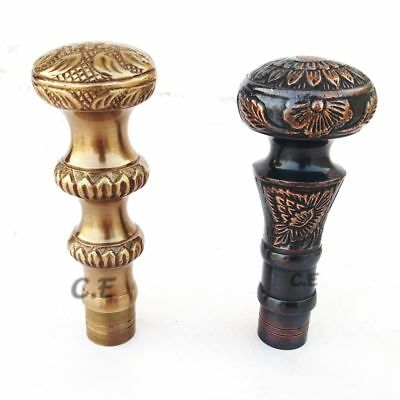 Set Of 2 Solid Brass Imperial Head Handle Vintage Walking Cane Halloween Offer