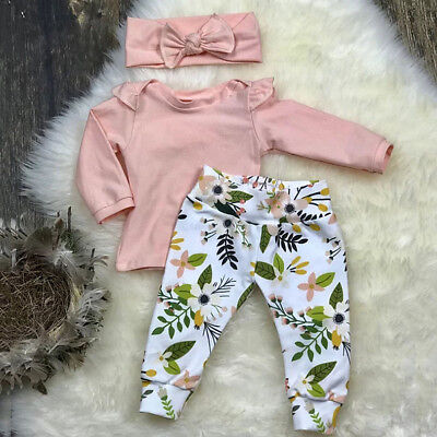 US Stock Toddler Baby Girl Tops T shirt Floral Pants Headband Outfit Clothes Set