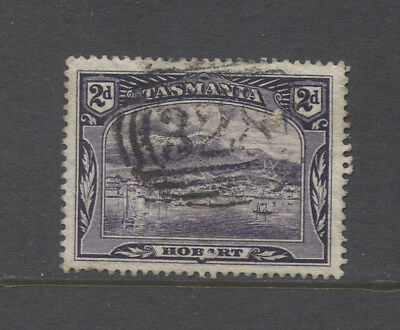 TASMANIA  1900: a light but clear strike of BN328 (LOTTAH) on a 2d Pictorial