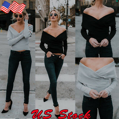 US Women Long Sleeve Off-Shoulder V-Neck Crop Top Fashion Party Casual Sexy Tee