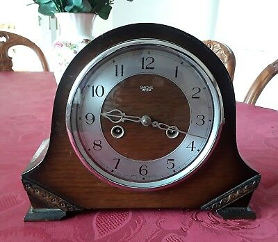 Smiths Enfield vintage wooden wind-up striking mantle clock