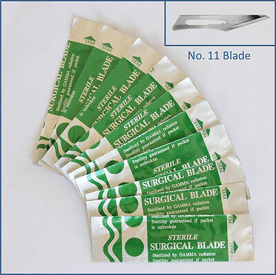 10pc Steel No. 11 Sealed Sterile Surgical Scalpel Blades for Handle #3, 5 Craft