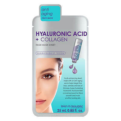 Skin Republic 25ml Hyaluronic Acid + Collagen Face Sheet Mask - Anti Aging Serum