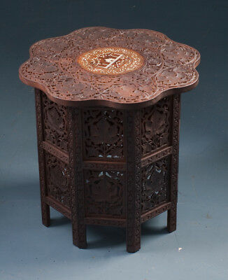 Vintage  Anglo Indian Bone Inlaid Octagonal Side Coffee Table
