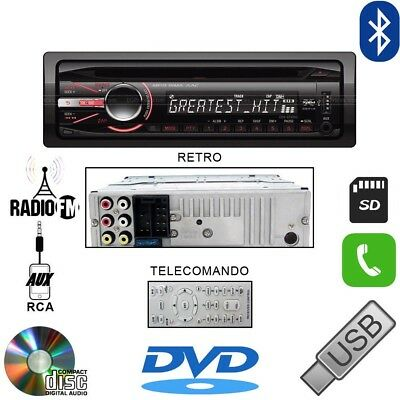 AUTORADIO 45Wx4 STEREO AUTO LETTORE CD DVD VIVAVOCE BLUETOOTH  MP3 AUX USB SD