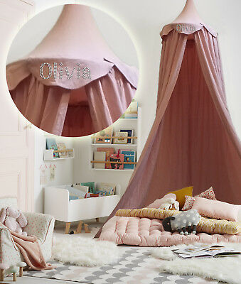 Personalised Pink Kids BED CANOPY Bedcover Mosquito Net Bedding teepee Tent Baby