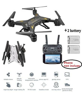 Helicopter Quadcopter Drone 5MP 1080P HD WIFI Camera REAL TIME RC FPV + Batteria