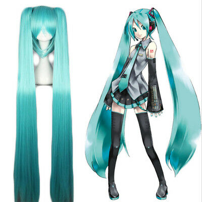 Anime Vocaloid Hatsune Miku Wig Long Ponytails Wigs Cosplay Party Show Blue Hair