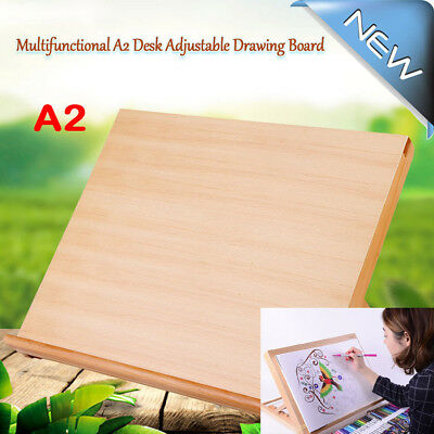 A2 Wooden Wood Art Drawing Writing Board Table Painting Sketch Easel Kids&Adults