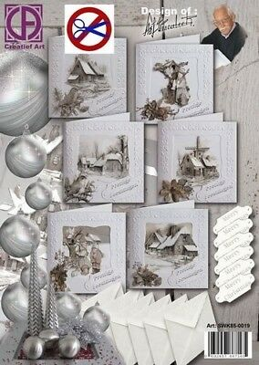 Christmas Card Making Kit - Six Square Cards, Envelopes and Paper Tole Decoupage