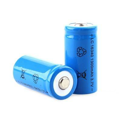 NEW 1300mAh High Quality 3.7V 16340 CR123A Rechargeable Li-ion Battery Blue