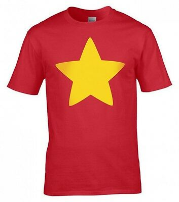 Steven Universe Red T-Shirt Cosplay Costume Kids & Adult Size Gold Star T-Shirts