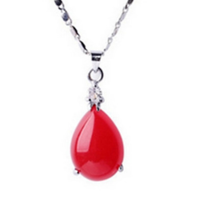 China Handcarved Red Jade Water Drop Shape Pendant Necklace XX01
