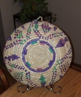 FINE Vintage NATIVE AMERICAN Coiled Basket~Bowl~Wall Hanging~COLORFUL!