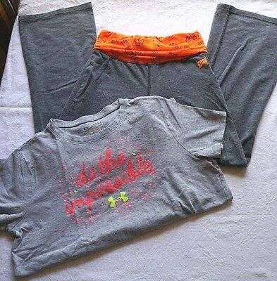 Under Armour / Nike Lot Of 2 Items Youth Med Yoga Sweat Pants / Tshirt Grey Girl