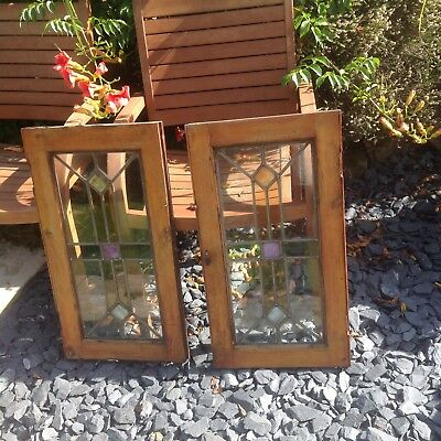 Stained Glass, Panels, Doors, Cupboard Pair, Stunning