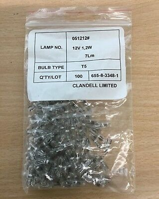 200 x New T5 5mm 1.2w Wedge Bulbs 7 lumen for Fruit Machines car dash etc