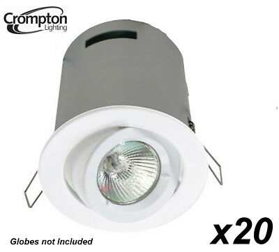 20 Pack x White Round Gimble Downlight Fittings w Heat Hood 12V MR16 Gimbal