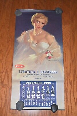 1953 Complete 12-Month Pin-Up Sinclair Oil Advertising Calendar Bill Medcalf B&B