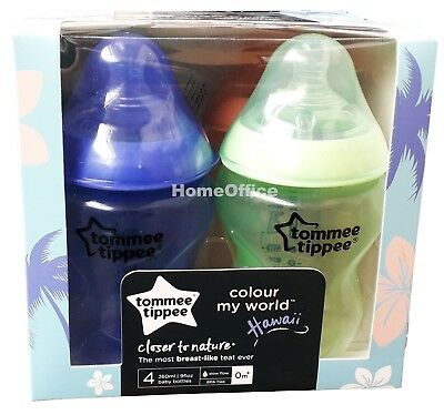 Tommee Tippee  4x 260ml Baby Feeding Bottles Nice Maternity Gift Colour My World