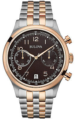 Bulova 98B248 Vintage Brown Dial Two Tone Stainless Chronograph Men's Watch