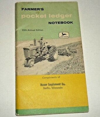 1960-61-62 Farmer's Pocket Ledger Notebook 95th Edition, John Deere, Berlin WI