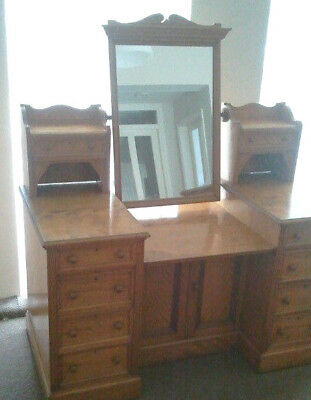 Ash/Satinwood Double Pedastal Dressing Table