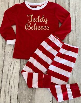 PERSONALISED CHRISTMAS PYJAMAS GIFT, Gold Glitter Name Believes Striped PJs Cute