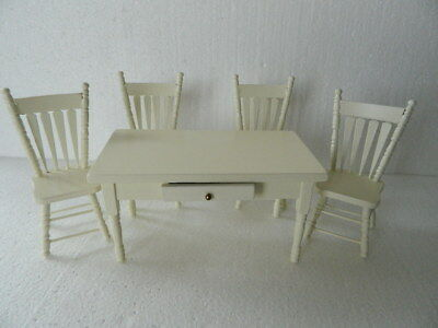 (H17) Dolls House Wooden Cream Coloured Table And Four Chairs *** Special ***