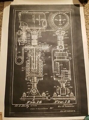Antique Vintage Industrial Blueprint Drawing Industrial Named Dated Numbered