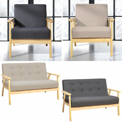 Solid Wood Loft 1 2 Seater Sofa Linen Buttoned Upholstered Chair Armchair Settee