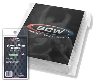 NEW 200 Resealable BCW Team Set Bags Sports Card Protect Holder Sleeves Display