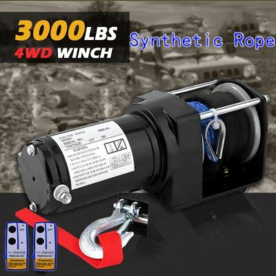 12V 3000LBS/1361KGS Remote Control Electric Winch Nylon Synthetic Rope For Truck