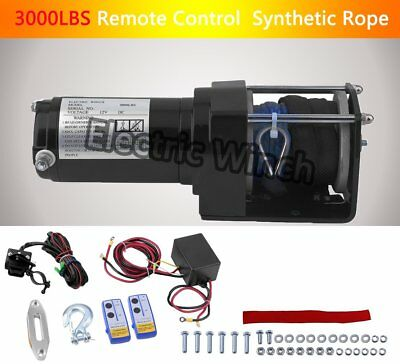12V 3000LBS Remote Control Electric Winch Synthetic Rope Long Warranty Wireless