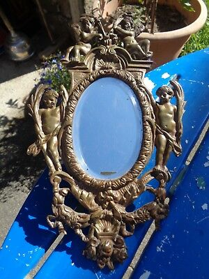Antique Bronze Baroque Bevelled Oval Mirror Rococo Style Cherubs Shells Roses