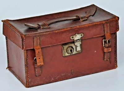 Vintage Brown Leather Bound Felt Linned Box / Plate Camera Case ??