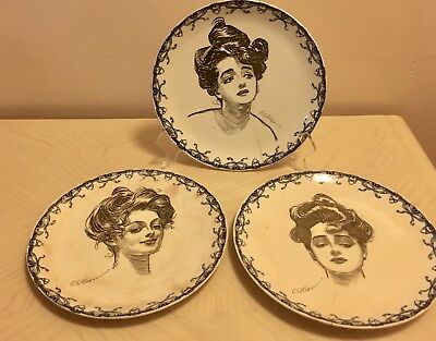 Three (3) 1901-1902 Royal Doulton Gibson Girl Dinner Plates, Hard to Find, As Is