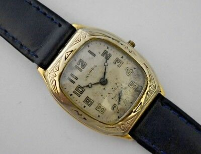 Vintage 1930's Illinois Art Deco Beau Brummel 2 Tone 14KGF Case Mens Watch LOT#3