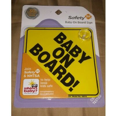 New! Safety 1st Yellow/Black Baby on Board Sign Car Window Suction Cup 48918