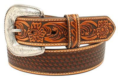 Ariat Western Mens Belt Leather Embossed Weave Floral Tan A1032408