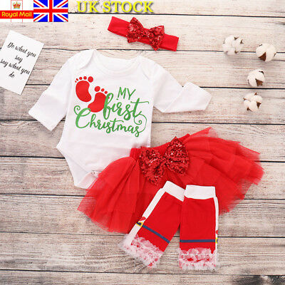 4Pcs Baby Girls Toddler First Christmas Clothes Skirt Outfits Tutu Dress Romper