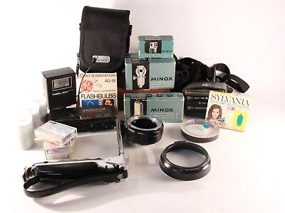 Minox Flashgun, Binocular Att. Voice recorder, Camera Case, AG-1B FlashBulbs +++