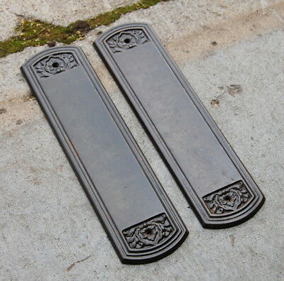 Original Antique Stamped Metal Door Push Plates, Vintage Door Hardware