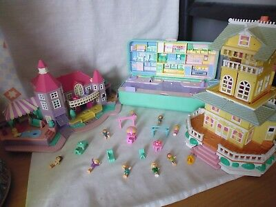 Vintage Polly Pocket x3 Houses/Sets with figures and Accessories.