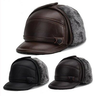 best service 8dcf1 22b84 Men s Real Leather Baseball Cap Hat 2018 Winter New Caps With Faux Fur  Earflaps