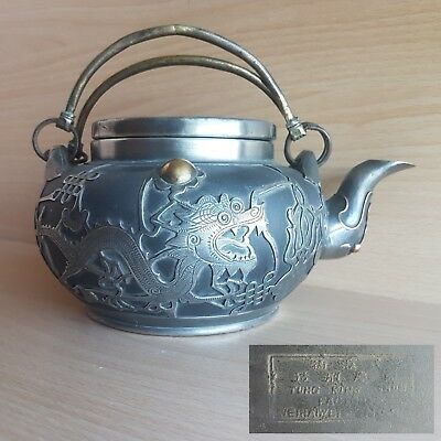 9# Old Rare Antique Asian Chinese Clay Teapot w. Pewter Dragon Overlay, Marked