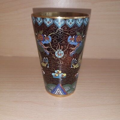 14# Old Rare Antique Chinese Cloisonné Dragons Mug Cup Beaker, Gilded