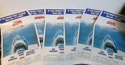 """'JAWS' Movie posters lot of 6 TOPPS 1981 movie giant pinups 12""""x20"""" Spielberg"""