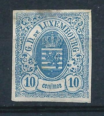 Luxembourg 1859 10c Pale Blue Imperf Mint No Gum CV £275 -some thins
