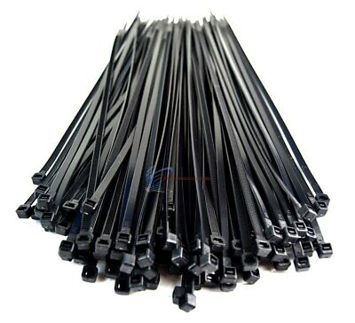 "1000 Pieces 11"" Black Nylon Cable Zip Wire Ties 50 Lbs Tensile Strength"